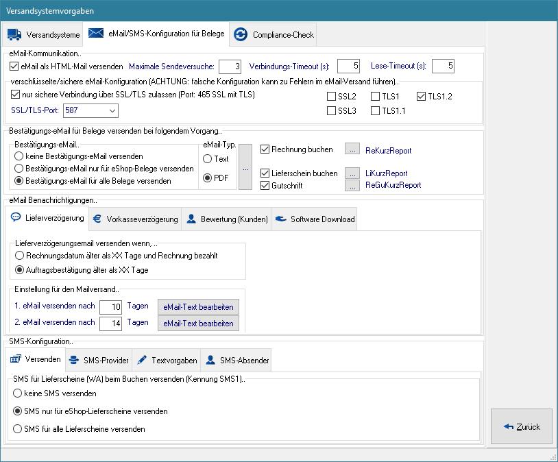 Konfiguration Belegvorgaben Versand Und Mail Emailsms