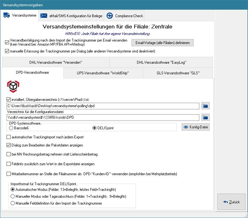 Konfiguration - Belegvorgaben, Versand und Mail - Versandsysteme – e ...